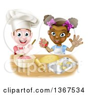 Clipart Of A Happy White Boy Making Frosting And Black Girl Making Cookies Royalty Free Vector Illustration by AtStockIllustration