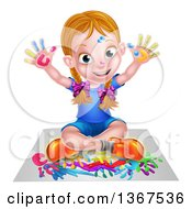 Clipart Of A Cartoon Happy White Girl Sitting On Paper And And Painting Royalty Free Vector Illustration