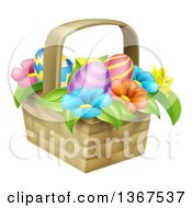Clipart Of A Basket Of Easter Eggs And Colorful Flowers Royalty Free Vector Illustration