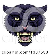 Clipart Of A Tough Roaring Black Panther Mascot Head Royalty Free Vector Illustration by AtStockIllustration