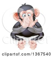 Cartoon Black And Tan Speak No Evil Wise Monkey Covering His Mouth