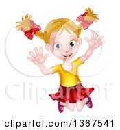 Clipart Of A Happy Blond White Girl Jumping Happily Royalty Free Vector Illustration by AtStockIllustration