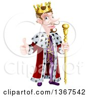 Clipart Of A Happy Brunette White King Giving A Thumb Up And Holding A Gold Staff Royalty Free Vector Illustration by AtStockIllustration