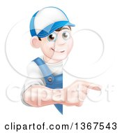 Poster, Art Print Of Happy Young Brunette Caucasian Mechanic Man In Blue Wearing A Baseball Cap Pointing Around A Sign