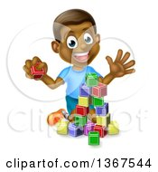 Clipart Of A Happy Black Boy Waving And Playing With Toy Blocks Royalty Free Vector Illustration by AtStockIllustration