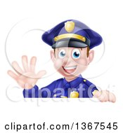 Clipart Of A Cartoon Happy Caucasian Male Police Officer Waving Over A Sign Royalty Free Vector Illustration