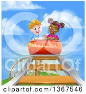 Clipart Of A Happy White Boy And Black Girl At The Top Of A Roller Coaster Ride Against A Blue Sky With Clouds Royalty Free Vector Illustration