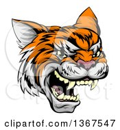 Clipart Of A Vicious Tiger Mascot Face Royalty Free Vector Illustration