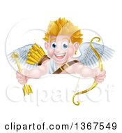 Clipart Of A Happy Blond Caucasian Valentines Day Cupid Holding A Gold Heart Arrow And His Bow Over A Sign Royalty Free Vector Illustration by AtStockIllustration