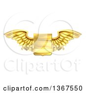Clipart Of A 3d Gold Heraldic Winged Shield With A Blank Banner Ribbon Royalty Free Vector Illustration
