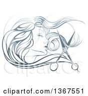 Beatiful Womans Face In Profile With Long Hair And Scissors Snipping Off A Lock