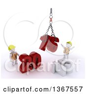 Clipart Of 3d White Character Contractors Using A Hoist To Piece Together A New Year 2016 With 15 On The Ground Over White Royalty Free Illustration