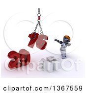 Clipart Of A 3d Silver Robot Contractor Using A Hoist To Piece Together A New Year 2016 With 15 On The Ground Over White Royalty Free Illustration