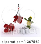 Clipart Of A 3d Tortoise Contractor Using A Hoist To Piece Together A New Year 2016 With 15 On The Ground Over White Royalty Free Illustration