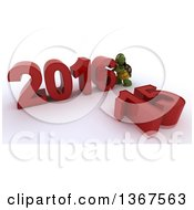 3d Tortoise Pushing Together A New Year 2016 With 15 On The Ground Over White