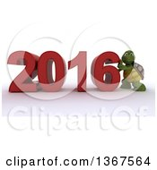 3d Tortoise Pushing Together A New Year 2016 Over White