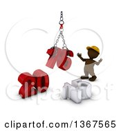 Clipart Of A 3d Brown Man Contractor Using A Hoist To Piece Together A New Year 2016 With 15 On The Ground Over White Royalty Free Illustration