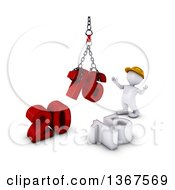 Clipart Of A 3d White Man Contractor Using A Hoist To Piece Together A New Year 2016 With 15 On The Ground Over White Royalty Free Illustration