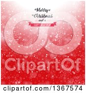 Clipart Of A Merry Christmas And A Happy New Year Greeting Over Red Bokeh And Snowflakes Royalty Free Vector Illustration
