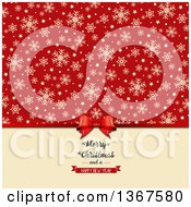 Clipart Of A Gift Bow With A Merry Christmas And A Happy New Year Greeting Under Snowflakes And Stars On Red Royalty Free Vector Illustration