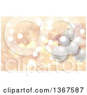 Clipart Of A Christmas Background With 3d Suspended Baubles Over Flares And Snowflakes Royalty Free Illustration