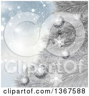 Clipart Of A Christmas Background Of 3d Baubles On A Silver Tree Over Snowflakes And A Burst Royalty Free Vector Illustration by KJ Pargeter