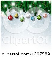 Clipart Of A Christmas Background Of 3d Suspended Baubles On A Tree Over Snowflakes And Bokeh Royalty Free Vector Illustration