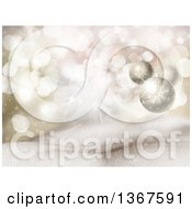 Clipart Of A Christmas Background With 3d Suspended Baubles Over Flares Stars And Snow Royalty Free Illustration