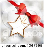 Clipart Of A 3d Glitter Star Shaped Gift Tag Attached To A Red Bow Over Bokeh Flares Royalty Free Vector Illustration