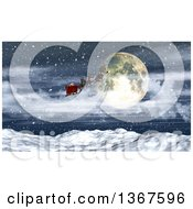 3d Santa Flying His Magic Sleigh Over A Full Moon And Snowy Mountain Range