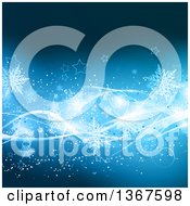 Clipart Of A Blue Christmas Background With Snowflakes Stars And Waves Royalty Free Vector Illustration by KJ Pargeter