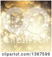 Clipart Of A Gold Christmas Background With Bokeh Stars And Snowflakes Royalty Free Vector Illustration