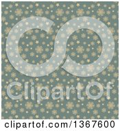 Clipart Of A Retro Tan And Blue Snowflake Pattern Background Royalty Free Vector Illustration