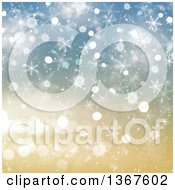 Clipart Of A Christmas Background Of Snowflakes Over Gold And Blue Bokeh And Lights Royalty Free Illustration