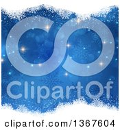 Clipart Of A Blue Christmas Background With Snowflakes And Borders Of White Snow Royalty Free Vector Illustration