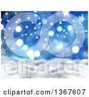 Clipart Of A Christmas Background Of 3d Snowy Hills With Blue Stars And Bokeh Lights Royalty Free Illustration