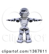 3d Silver Robot Standing With His Arms Out At His Sides Slightly Blurred On White