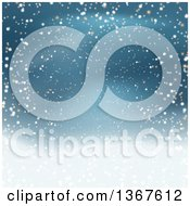 Clipart Of A Blue Christmas Background With Snow Royalty Free Vector Illustration