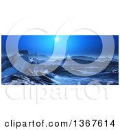 Clipart Of A 3d Surreal Landscape Of Snow Covered Mountains And A Full Moon Royalty Free Illustration