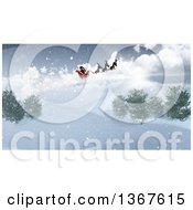 3d Santa Flying His Magic Sleigh Over A Snowy Landscape