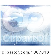 Clipart Of A 3d Wooden Deck Or Table With A Blurred View Of A Winter Landscape Royalty Free Illustration