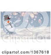 Clipart Of A 3d Snowman Presenting In The Snow Royalty Free Illustration