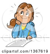 Clipart Of A Cartoon Happy School Girl Resting Her Chin On Her Hand Thinking And Writing An Essay Royalty Free Vector Illustration by Clip Art Mascots