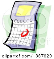 Clipart Of A Flip Desk Calendar With A Circled Date Over Green Royalty Free Vector Illustration