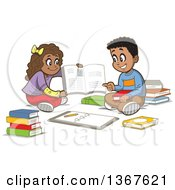 Cartoon Happy Black Girl And Boy Sitting On The Floor And Studying With Books