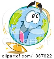 Clipart Of A Cartoon Excited Desk Globe Character Royalty Free Vector Illustration
