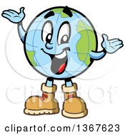 Cartoon Happy Desk Globe Mascot Wearing Hiking Boots And Presenting