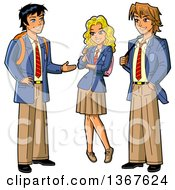 Clipart Of A Group Of Three Anime Stymed Teenage High School Studens In Uniforms Royalty Free Vector Illustration by Clip Art Mascots