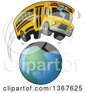 Clipart Of A Cartoon Yellow School Bus Going On A Field Trip Around The Earth Royalty Free Vector Illustration