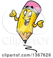 Clipart Of A Cartoon Happy Yellow Eraser Tipped Pencil Mascot Shrugging And Writing Royalty Free Vector Illustration